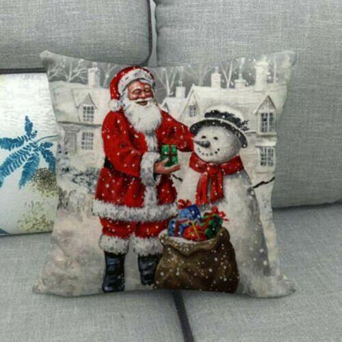 "18/""*18/"" Christmas Santa Claus Snowman Cushion Cover Zippered Square Pillow Case"