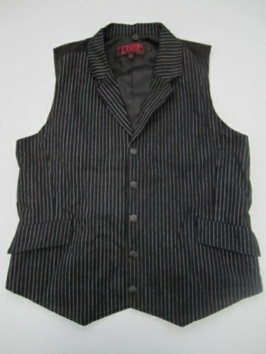 Mens Large Tripp NYC black pinstripe vest