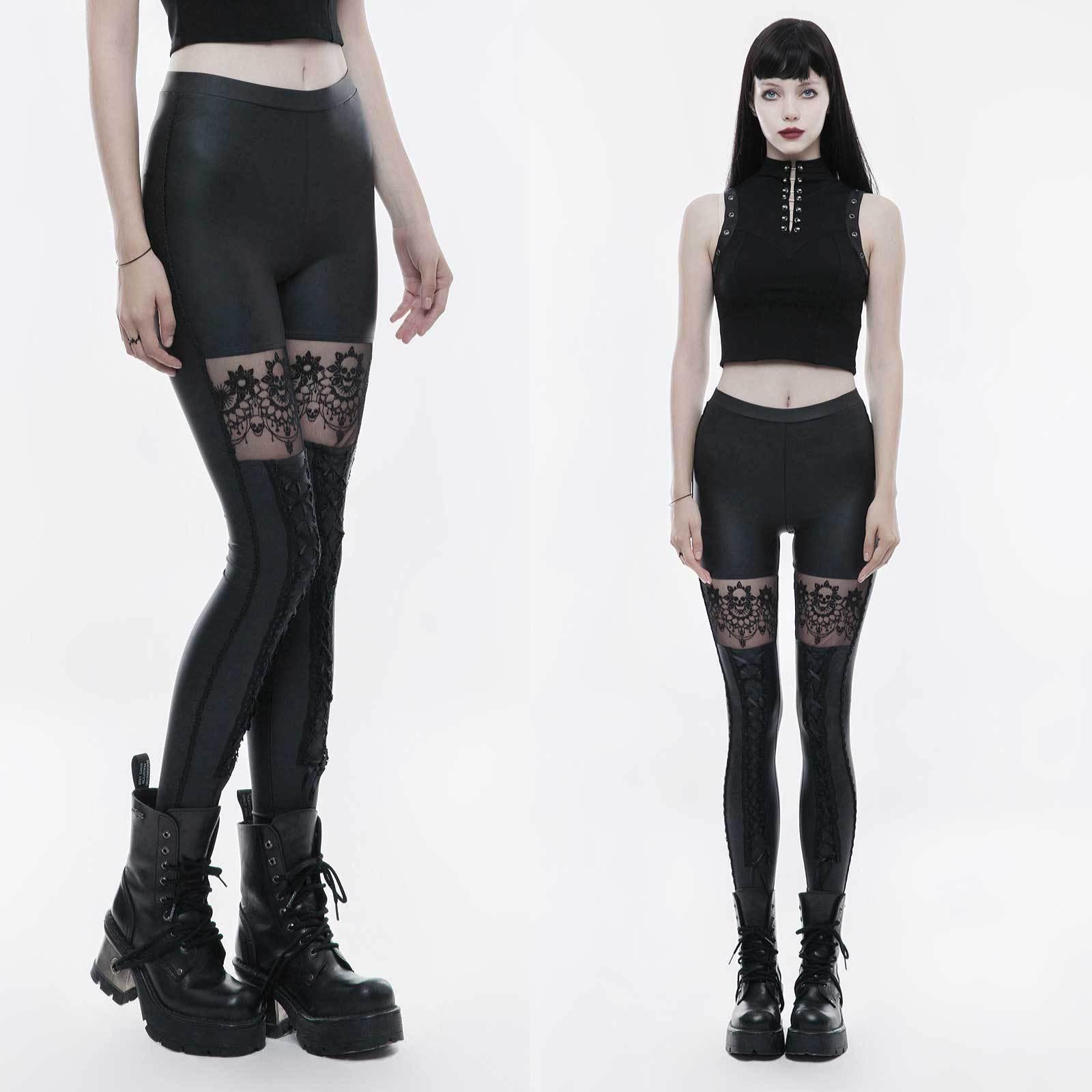 Punk Rave DEAD SKULL Leggings Gothic Legging con Pizzo gommosa superficie