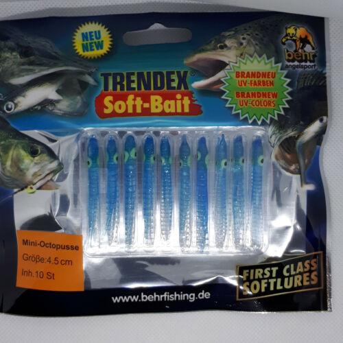 Behr Trendex UV Activated Mini Muppets Octopus Squid Sea Lures Pack Of 10 4.5cm