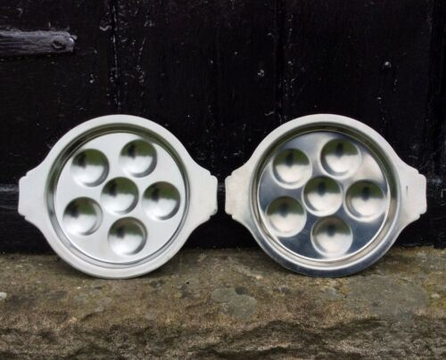 Vintage French Escargot Dish Set Snail Plate x2 Rustic Farmhouse Stainless Steel