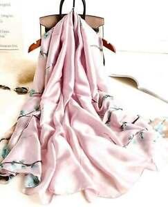 Grande-Echarpe-Foulard-Chale-Cadeau-Femme-100-Soie-Parme-Elegant-Chic-Style-Mode