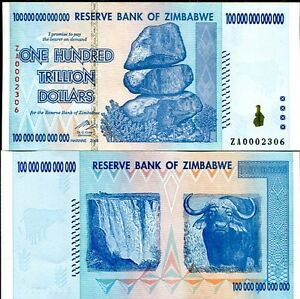 Details About 100 Trillion Zimbabwe Za Dollar Low Replacement Money Currency Unc 10 20 50