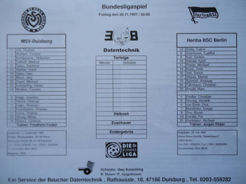 Supporti info 1997//98 MSV Duisburg-Hertha BSC