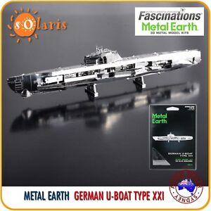 Fascinations-Metal-Earth-GERMAN-U-BOAT-TYPE-XXI-3D-Laser-Cut-Submarine-Model-Kit