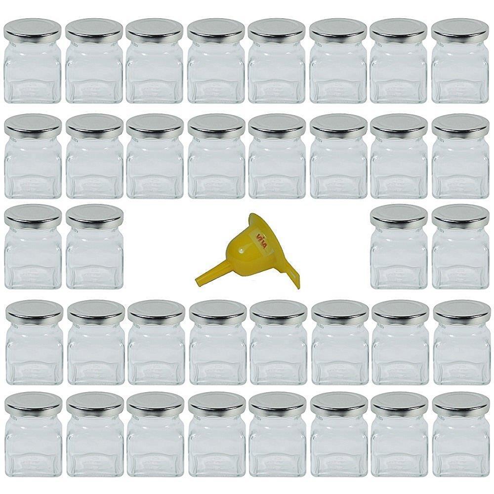 36 x einmachglas marmeladengas gew rzglas 120 ml eckig mit deckelfarbe silber ebay. Black Bedroom Furniture Sets. Home Design Ideas