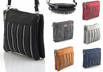 kleine Damen Handtasche Microbag Messenger Doppelfächer Clutch Damen Tasche
