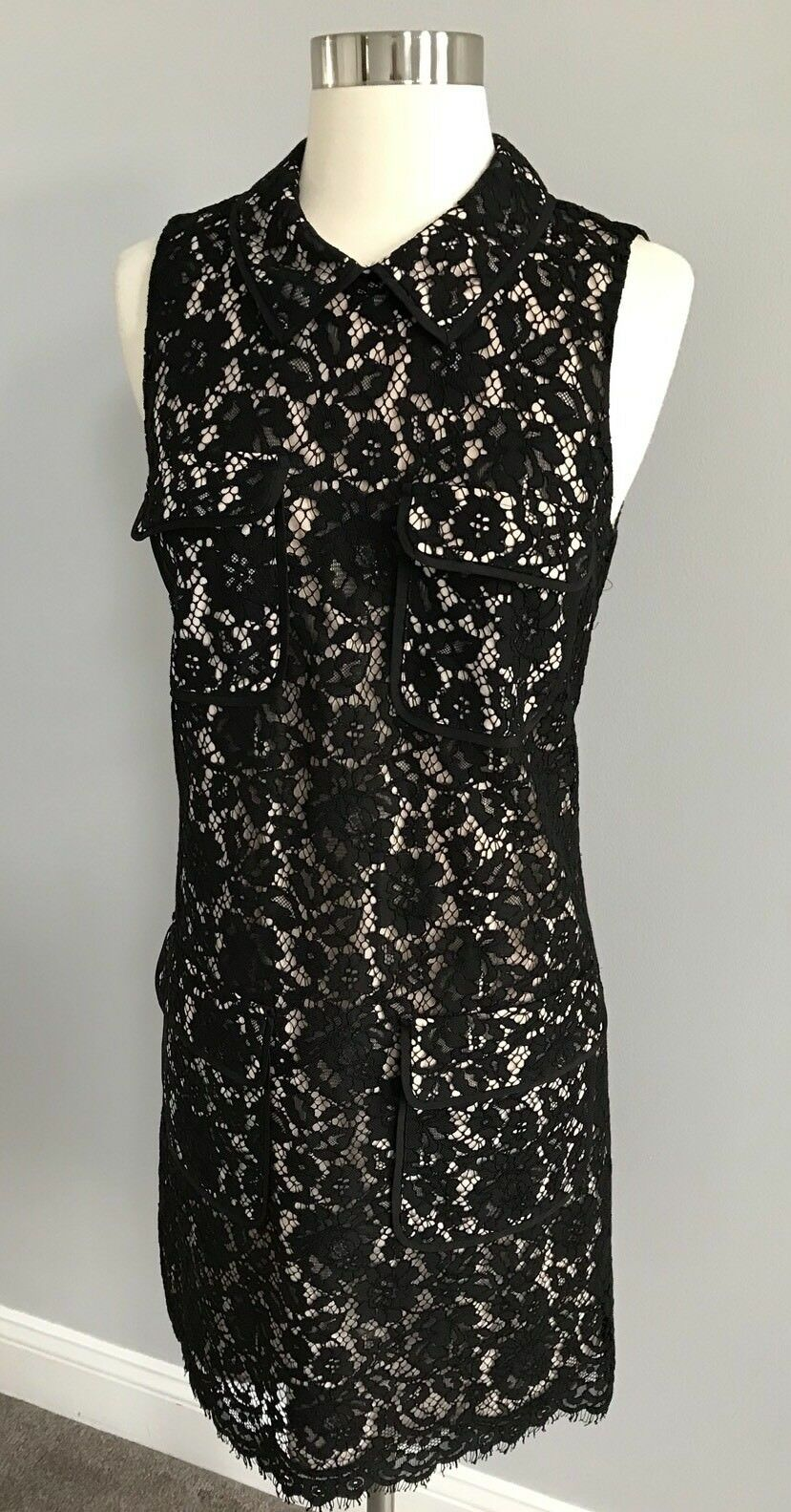 NWT J.CREW Woherren schwarz Lace Dress With 4 Pockets Größe 4