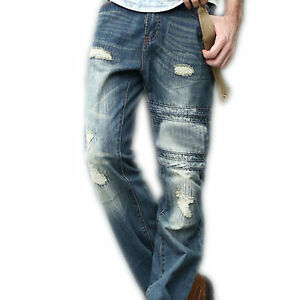 Mens-Straight-Fit-Distressed-Denim-Jeans-Ripped-Stylish-Trouser-New-All-Sizes