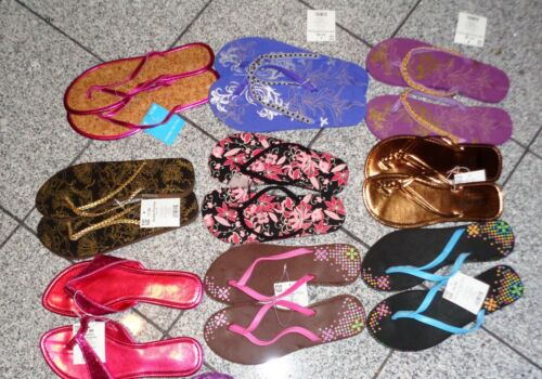 L Fun in the Sun Women Ladies Beaded Glitter /& Simple Beach Flip Flop Size S M