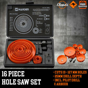 16pcs-Hole-Saw-Cutting-Set-19-127mm-w-Box-Timber-Plaster-Joinery-Metal-Alloys