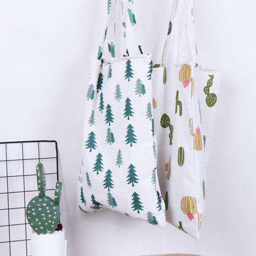 1x Pine cactus linen bag tote ECO shopping outdoor canvas shoulder bag  ^F