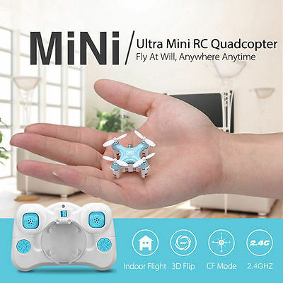 New DHD D1 Drone Smallest RC Quadcopter Headless Mode 2.4G 4CH 6-Axis RTF Blue