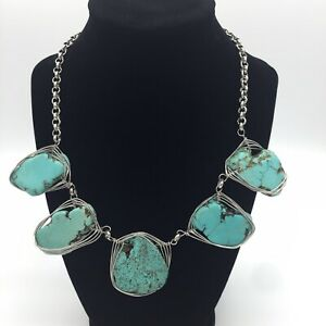 Turquoise-Howlite-Statement-Necklace-Silver-Colored-Wrapped-Wire