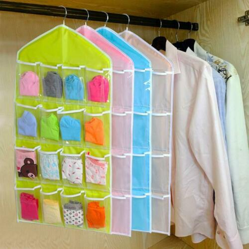 16 Pockets Clear Hanging Bag Socks Bra Underwear Rack Hanger Storage Organizer
