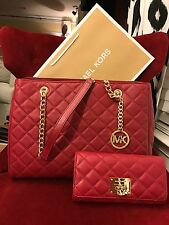 NWT MICHAEL KORS LEATHER SUSANNAH LARGE TOTE BAG + ASTRID WALLET IN CHERRY/GOLD