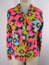 Vintage Bright floral hippie bohemian blouse Nylon top Em See Blouse Co size 14