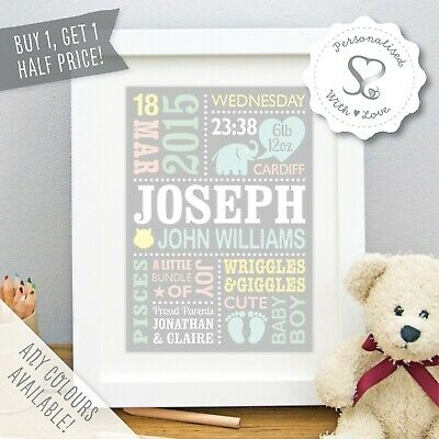 Birth Details New Baby Gift Personalised Elephants A4 Nursery Print