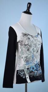 SAVE-THE-QUEEN-NWT-White-Silver-Black-Blue-Long-Sleeve-Embroidered-Top-L