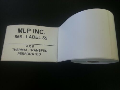 """Thermal Transfer Shipping Labels 4x6 3/"""" Core 1000 Labels//Roll"""