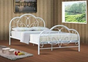 Alexis Small Double 4ft6 Metal Bed Frame Bedstead In Soft White Sale