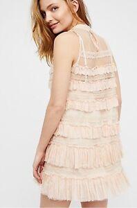 39d8fc8a58d6 FREE PEOPLE Audrey Dress Lace & Ruffles Mini Dress Ultra Femme Size ...