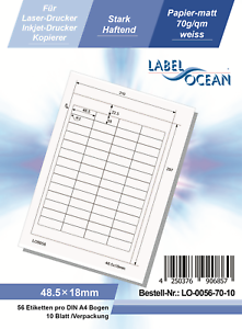 Klebeetiketten DIN A4 weiß 48,5x18mm Laser Inkjet Kopierer 10 Blatt