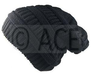 Mens Womens Plain Chunky Knit Ribbed Hats Urban Head Warm Baggy Beanie Hat