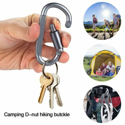 6x 82mm Aluminum D-Ring Carabiner Clip Snap Hook Outdoor Camping Hiking KeyChain