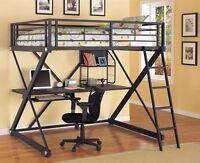 Loft bed with desk-black