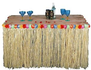 Tropical-Hawaiian-Luau-Table-Grass-Skirt-with-Flowers-BBQ-Party-Decorations-HW01