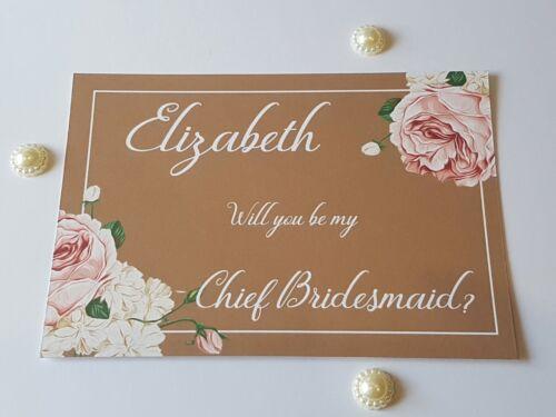 Vintage vous serez ma demoiselle d/'honneur cartes personnalisé complet avec enveloppe