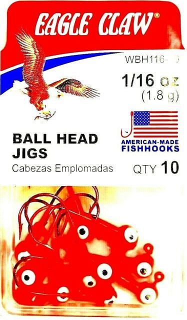 CRAPPIE JIGS 10 PK EAGLE CLAW BALL HEAD JIGS 1//16 OZ BLACK