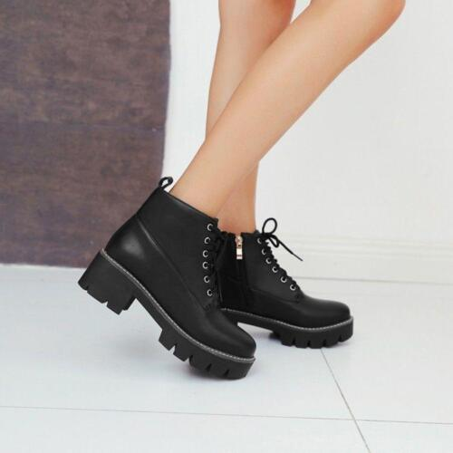 1 Womens punk Chunky Heel Lace up Zipper Ankle Boots knight Riding Boots New