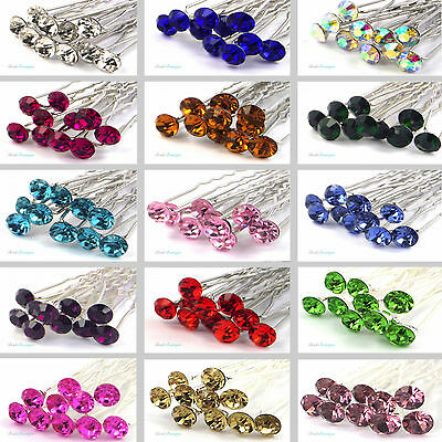 Bridal Wedding Prom Silver Crystal Diamante Rhinestone Hair Pins Clips Grips