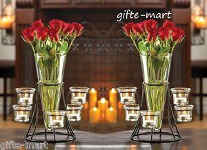 Image Is Loading 2 Black Candelabra Candle Holder Flower Vase Fl