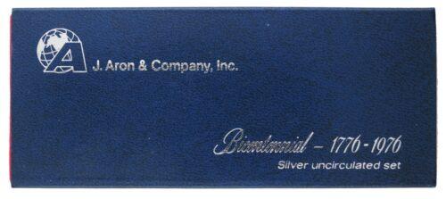 J Aron /& Company Bicentennial 1776-1976 Silver Uncirculated 3 Coin Mint Set