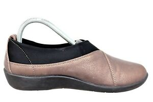 Clarks-Cloudsteppers-Sillian-Greer-Brown-Slip-On-Comfort-Shoes-Womens-Sz-8M