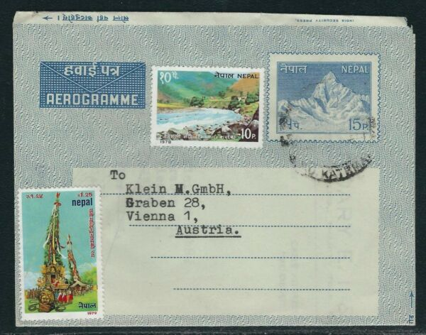1980 Népal Commercial 15p Aérogramme-katmandou à Vienne, Autriche