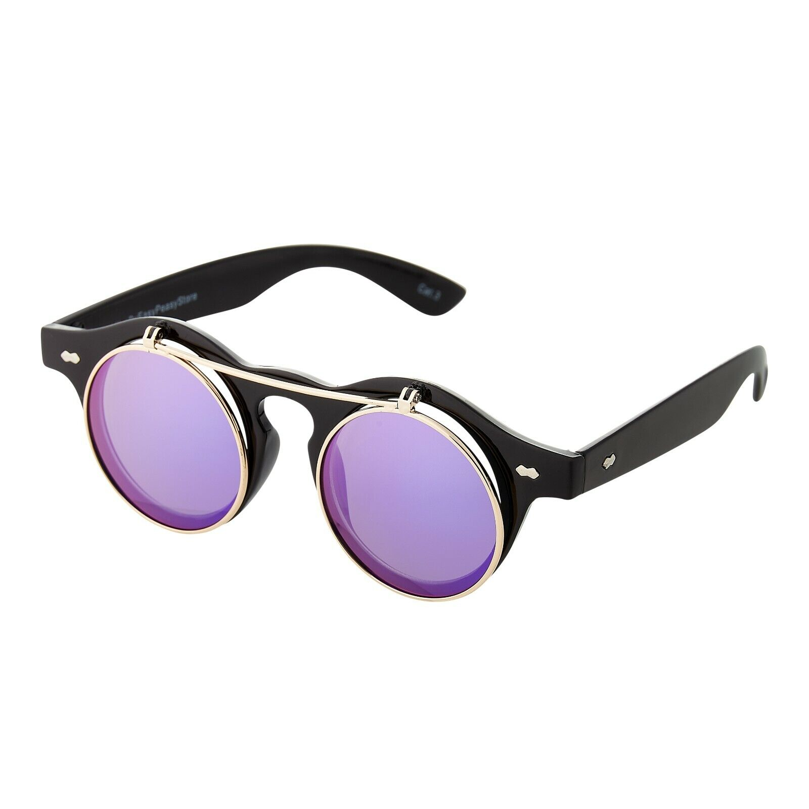 Black + Purple Mirrored Flip up Circle Steampunk Glasses Cyber Round Sunglasses