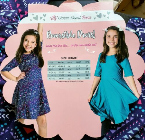 Sweet Heart Rose Girls Reversible Dress • One Dress 2 Colors Printed or Teal