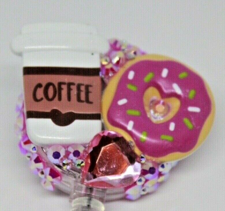 Coffee and Donuts Badge Reel Retractable 24
