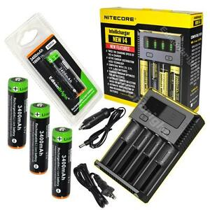 NITECORE New i4 smart charger with 4 X EdisonBright EBR34 18650 Li-ion batteries