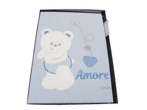 COPERTINA LETTINO NEONATO in puro cotone ricamata celeste disegno orso 520d1