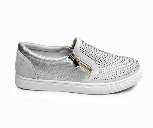 a8629bd01 Womens Diamante Zip Trainers Slip on Skater SNEAKERS Flats Shoes ...