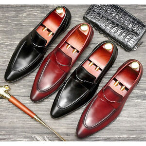 2 Color New Pointed Toe Leather Mens Slip On Formal Dress Loafer Shoes