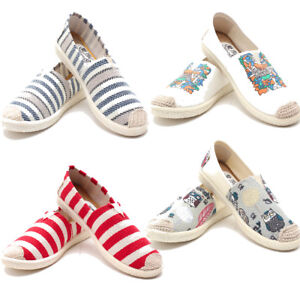 Women-Classics-Tom-Loafers-Canvas-Slip-on-Flats-Lazy-Stripe-Casual-Shoe-Size-6-8