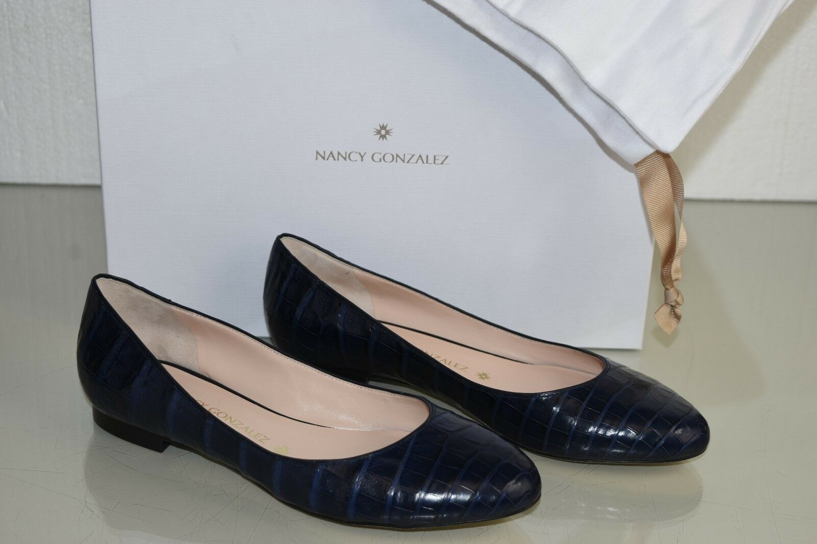 Nuevo Nancy Gonzalez Cristina Lagarto Lagarto Lagarto Cocodrilo Azul Marino Zapato Plano 39 41  varios tamaños