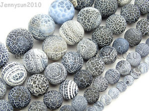 Matte-Frosted-Black-Fire-Crackle-Agate-Gemstones-Round-Beads-15-034-6mm-8mm-10mm