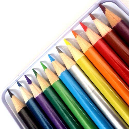 12 métallique couleur crayons dessin coloriage croquis art artiste tirage photo